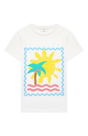 Детская хлопковая футболка STELLA MCCARTNEY белого цвета, арт. 602648/SQJ94 | Фото 1