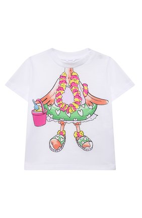 Детский хлопковая футболка STELLA MCCARTNEY белого цвета, арт. 602597/SQJB2 | Фото 1