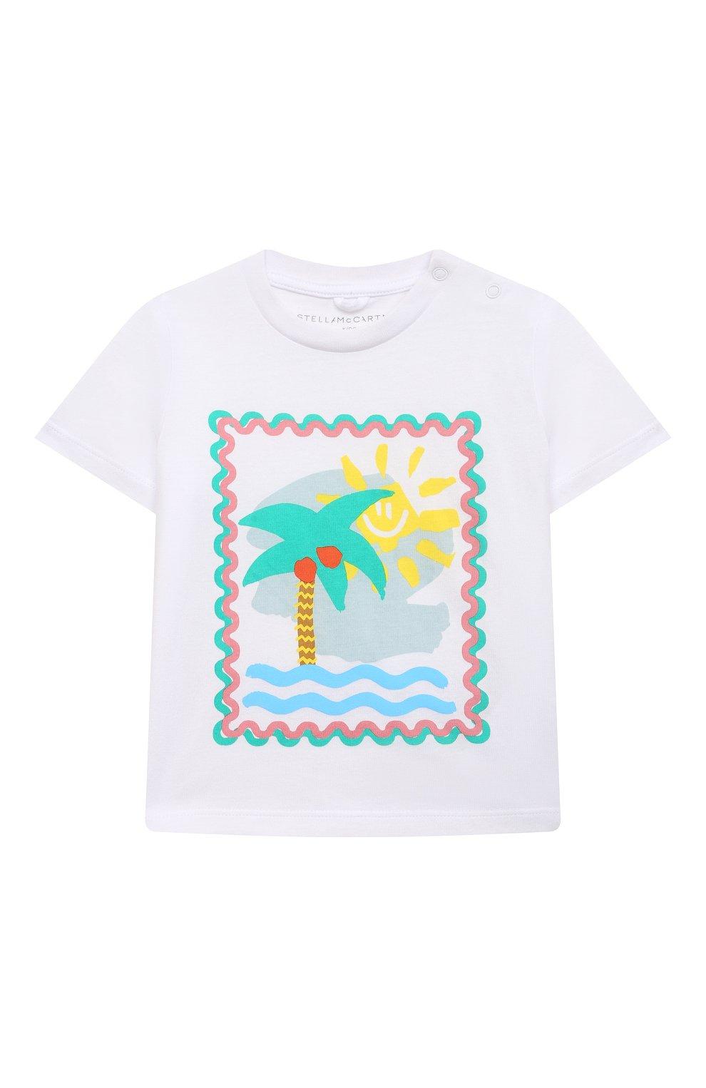 Детский хлопковая футболка STELLA MCCARTNEY белого цвета, арт. 602597/SQJ94   Фото 1