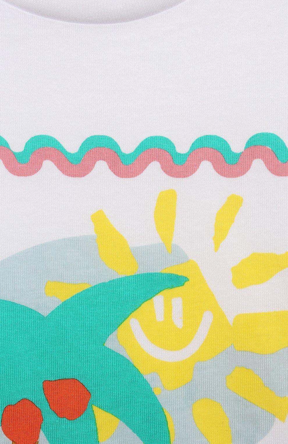 Детский хлопковая футболка STELLA MCCARTNEY белого цвета, арт. 602597/SQJ94   Фото 3