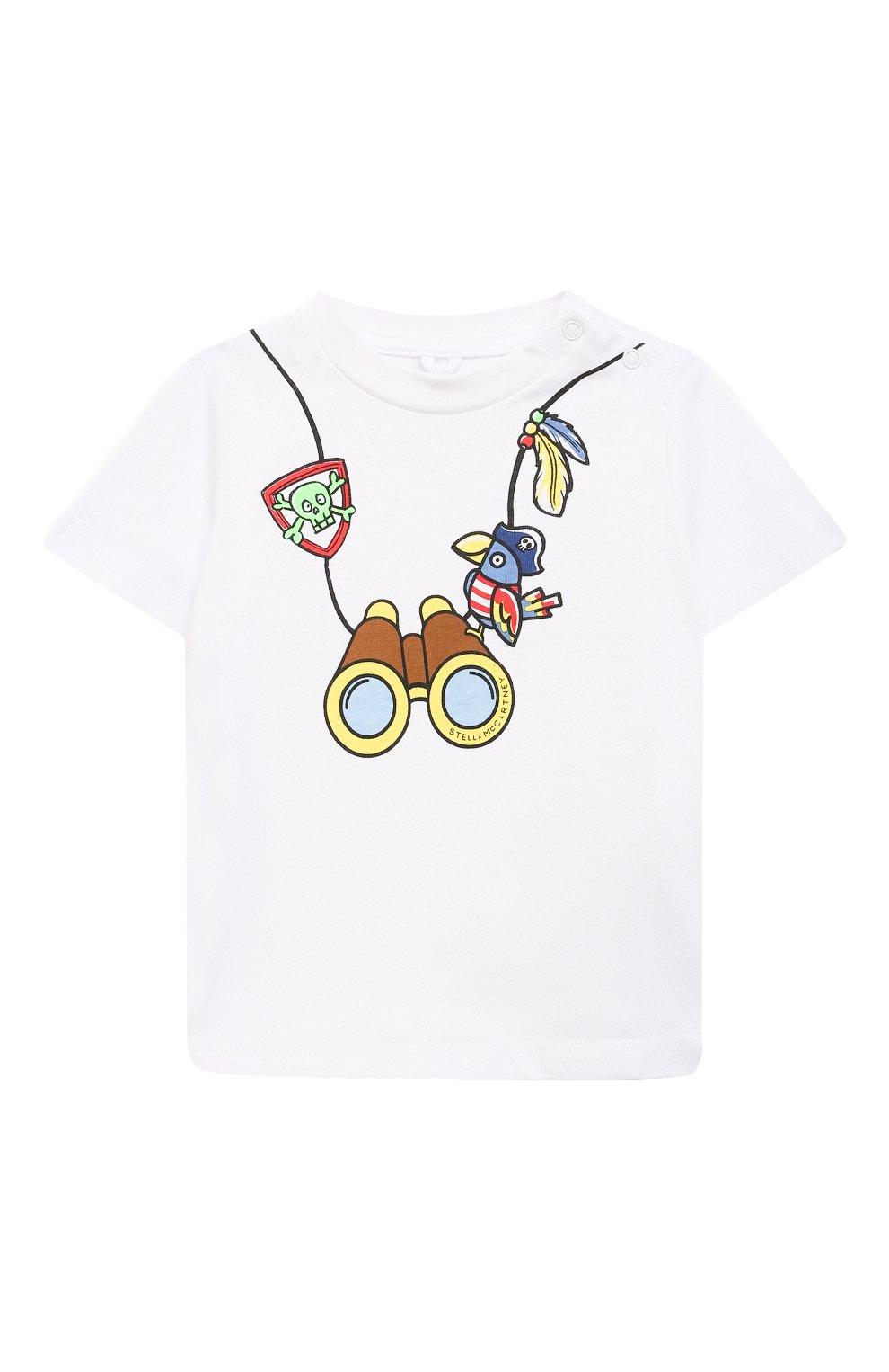 Детский хлопковая футболка STELLA MCCARTNEY белого цвета, арт. 602270/SQJ82 | Фото 1