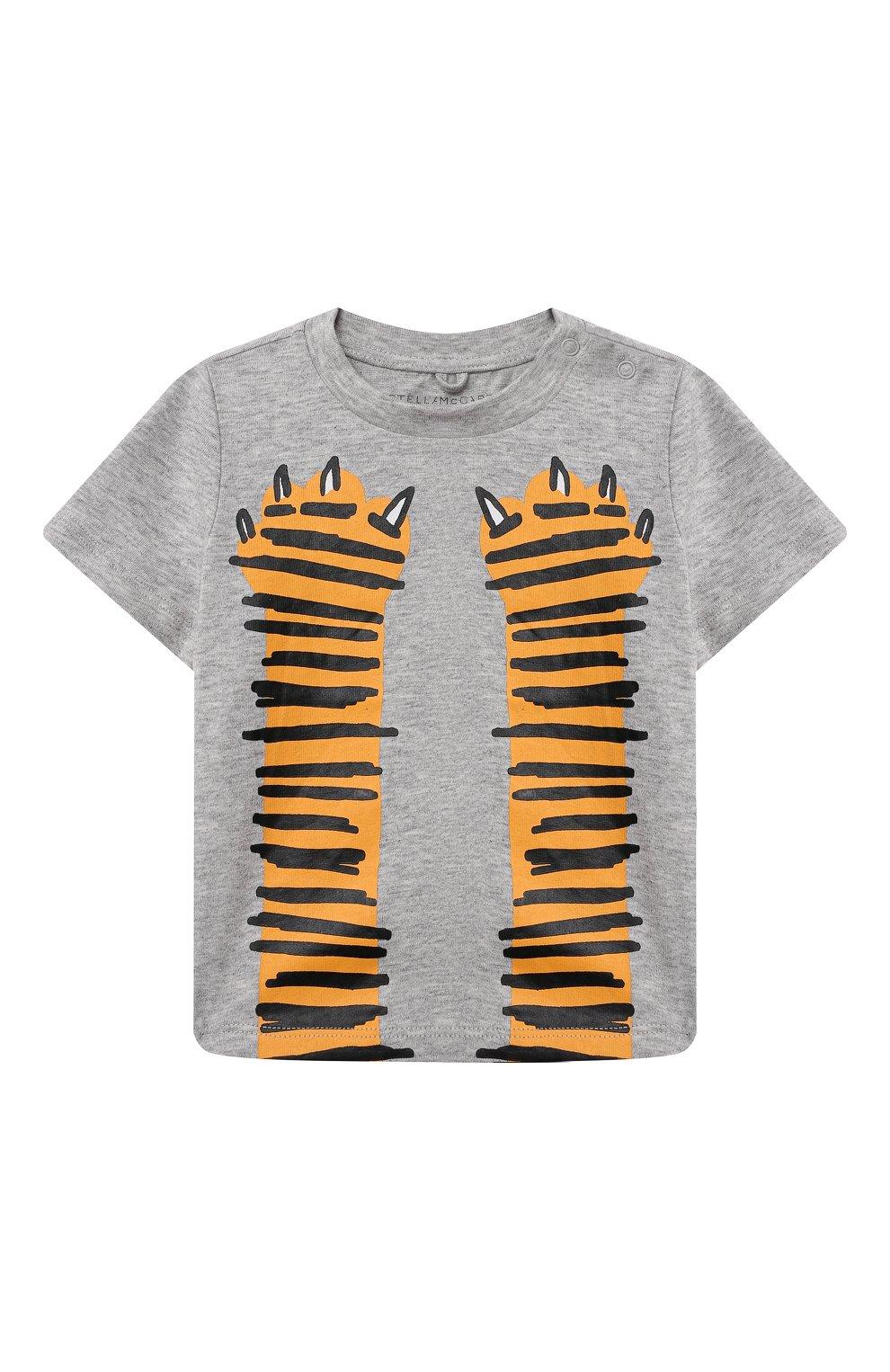 Детский хлопковая футболка STELLA MCCARTNEY серого цвета, арт. 602270/SQJ19 | Фото 1