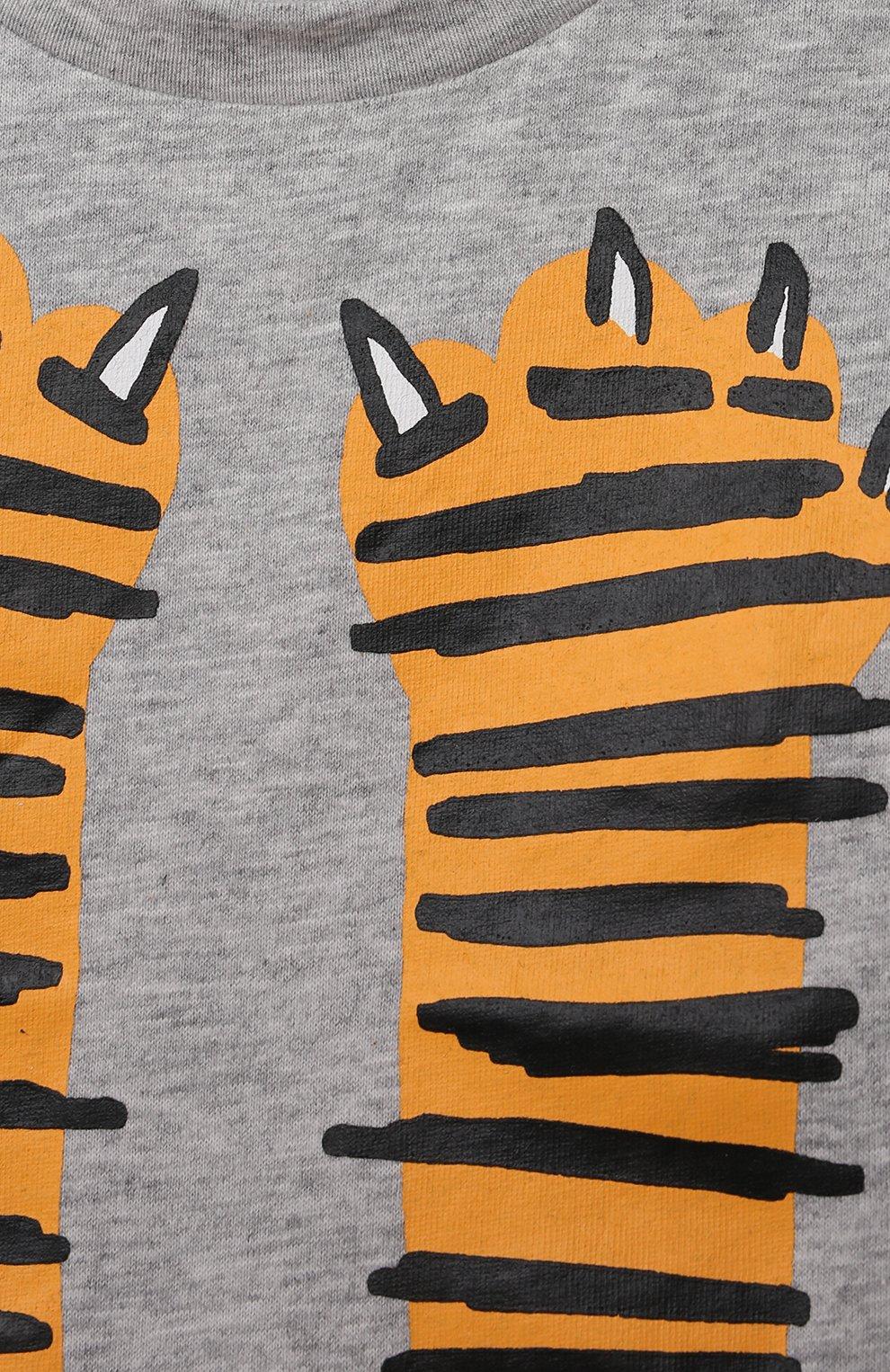 Детский хлопковая футболка STELLA MCCARTNEY серого цвета, арт. 602270/SQJ19 | Фото 3