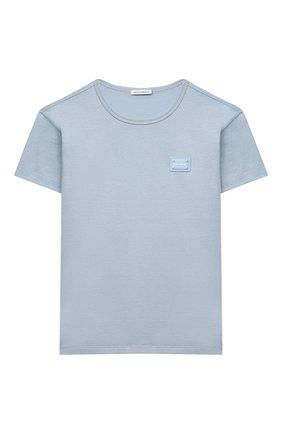 Детская хлопковая футболка DOLCE & GABBANA светло-голубого цвета, арт. L4JT7T/G70LK/2-6 | Фото 1