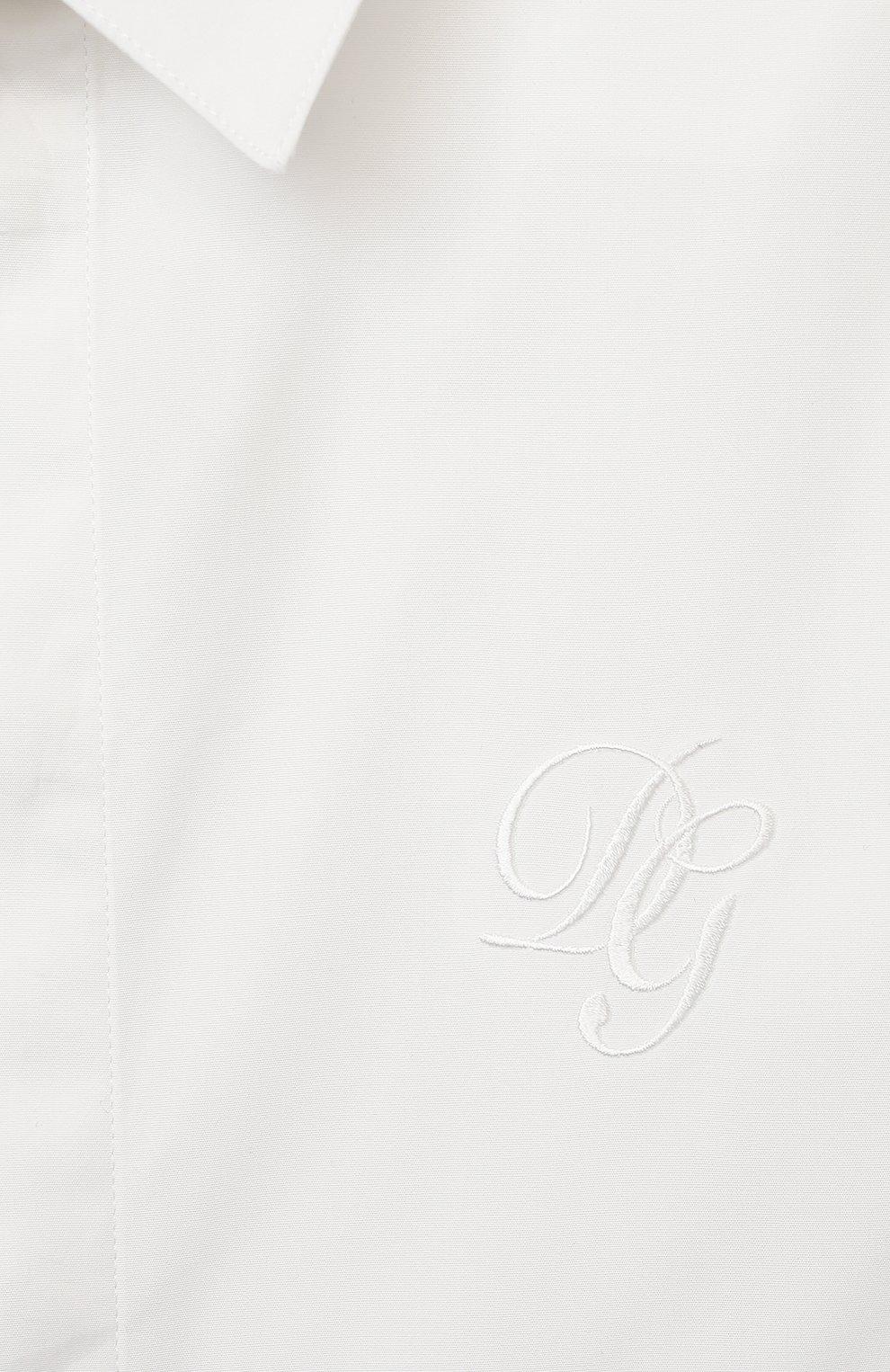 Детская хлопковая рубашка DOLCE & GABBANA белого цвета, арт. L43S25/G7WSF/2-6   Фото 3 (Рукава: Короткие; Случай: Повседневный; Материал внешний: Хлопок; Ростовка одежда: 2 года   92 см, 3 года   98 см, 4 года   104 см, 5 лет   110 см, 6 лет   116 см)