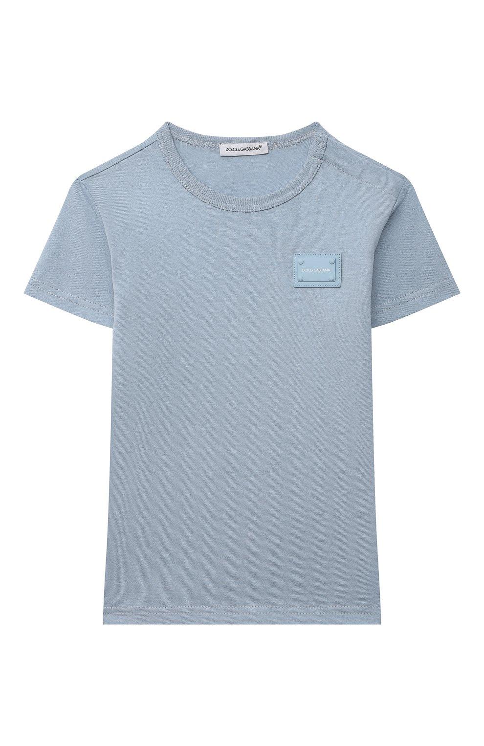 Детский хлопковая футболка DOLCE & GABBANA светло-голубого цвета, арт. L1JT7T/G70LK   Фото 1