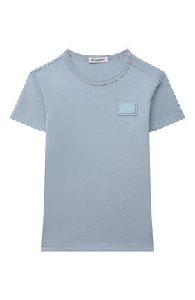 Детский хлопковая футболка DOLCE & GABBANA светло-голубого цвета, арт. L1JT7T/G70LK | Фото 1