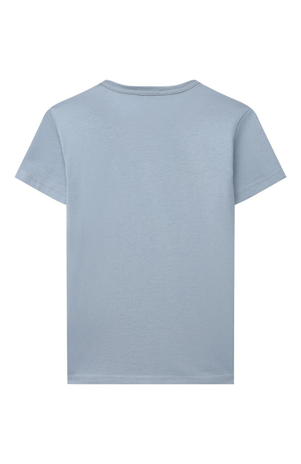 Детский хлопковая футболка DOLCE & GABBANA светло-голубого цвета, арт. L1JT7T/G70LK   Фото 2