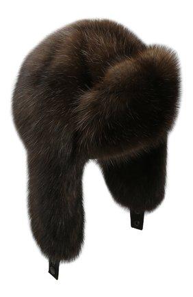 Женская шапка-ушанка из меха соболя KUSSENKOVV коричневого цвета, арт. 93570004097 | Фото 1