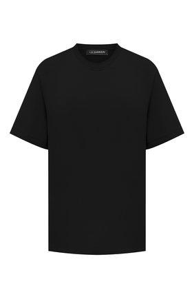 Женская хлопковая футболка I.D. SARRIERI черного цвета, арт. A5504   Фото 1