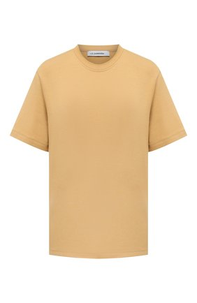 Женская хлопковая футболка I.D. SARRIERI бежевого цвета, арт. A5504   Фото 1