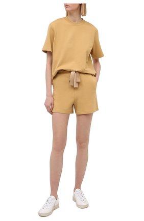 Женская хлопковая футболка I.D. SARRIERI бежевого цвета, арт. A5504   Фото 2