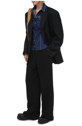 Женская джинсовая рубашка VERSACE JEANS COUTURE темно-синего цвета, арт. B0HWA61I-WDP251/APU54 | Фото 2