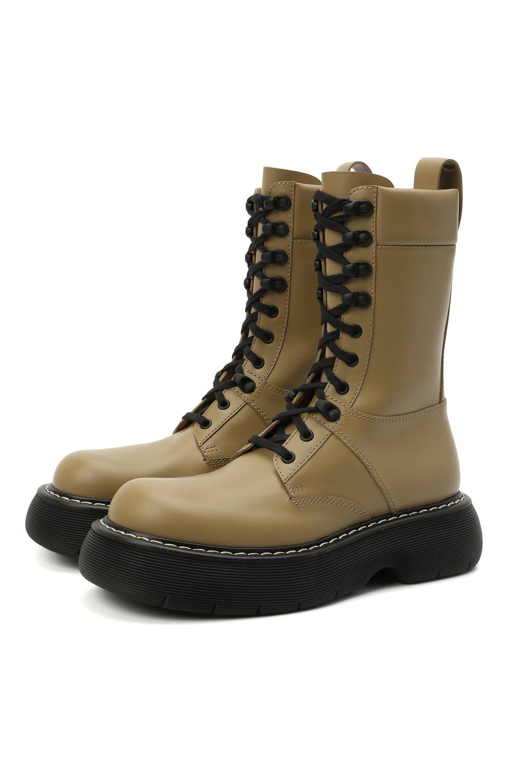 Женские кожаные ботинки BOTTEGA VENETA серого цвета, арт. 651411/V00H0 | Фото 1