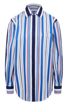 Женская хлопковая рубашка LORO PIANA синего цвета, арт. FAL6302 | Фото 1