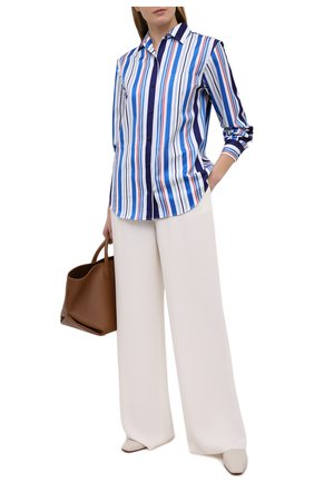 Женская хлопковая рубашка LORO PIANA синего цвета, арт. FAL6302 | Фото 2