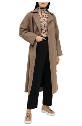 Женские замшевые кеды SANTONI светло-коричневого цвета, арт. WBCD60780BARCCYDC40 | Фото 2