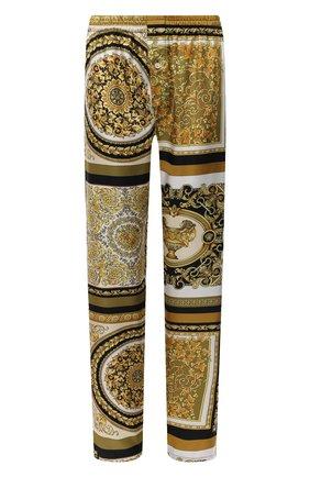 Женские шелковые брюки VERSACE золотого цвета, арт. AUD05057/1F00508 | Фото 1