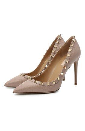 Женские кожаные туфли valentino garavani rockstud VALENTINO бежевого цвета, арт. VW2S0057/VCE | Фото 1