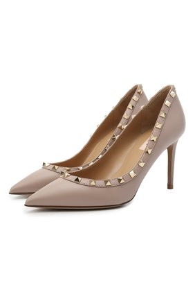 Женские кожаные туфли valentino garavani rockstud VALENTINO бежевого цвета, арт. VW2S0A04/V0D | Фото 1
