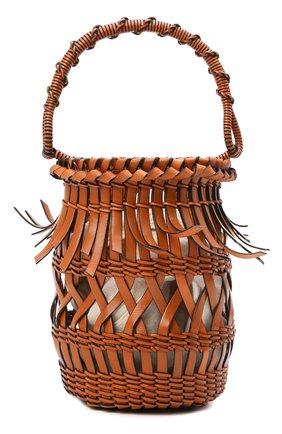 Женская сумка bucket fringes LOEWE светло-коричневого цвета, арт. 340.80.W68 | Фото 1