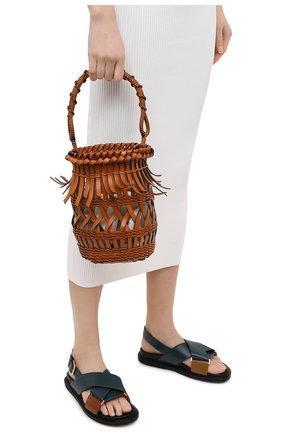 Женская сумка bucket fringes LOEWE светло-коричневого цвета, арт. 340.80.W68 | Фото 2