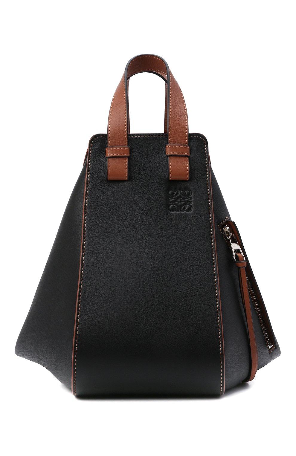 Женская сумка hammock small LOEWE черного цвета, арт. A538S35X04   Фото 1 (Сумки-технические: Сумки через плечо, Сумки top-handle; Материал: Натуральная кожа; Ремень/цепочка: На ремешке; Размер: small)
