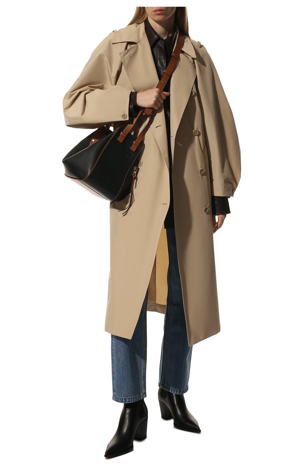 Женская сумка hammock small LOEWE черного цвета, арт. A538S35X04   Фото 3 (Сумки-технические: Сумки через плечо, Сумки top-handle; Материал: Натуральная кожа; Ремень/цепочка: На ремешке; Размер: small)