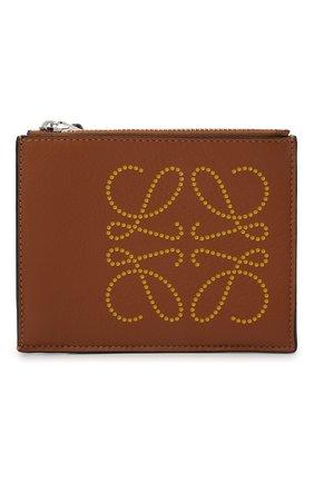 Женский кожаный футляр для кредитных карт LOEWE коричневого цвета, арт. C500037X01 | Фото 1