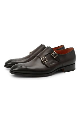 Мужские кожаные монки SANTONI темно-коричневого цвета, арт. MCCR17595JC6I0BRT53 | Фото 1 (Стили: Классический; Материал внутренний: Натуральная кожа)