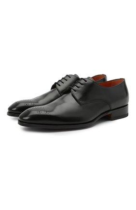 Мужские кожаные дерби SANTONI черного цвета, арт. MCCR17633JC6I0BRN01 | Фото 1