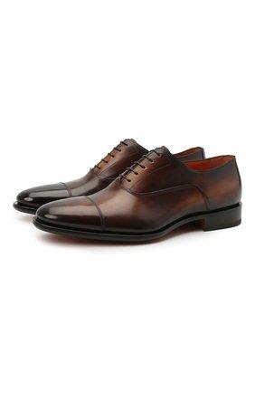 Мужские кожаные оксфорды SANTONI темно-коричневого цвета, арт. MCBN17158BB3XFULT50 | Фото 1 (Материал внутренний: Натуральная кожа; Стили: Классический)