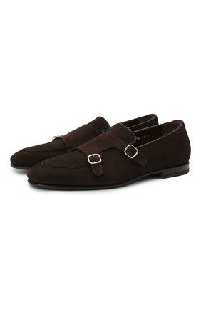 Мужские замшевые лоферы SANTONI темно-коричневого цвета, арт. MCNC16848SA3SRVLT50 | Фото 1 (Мужское Кросс-КТ: Лоферы-обувь; Материал внутренний: Натуральная кожа; Стили: Кэжуэл; Материал внешний: Замша)