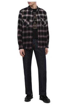 Мужская рубашка из хлопка и вискозы AMIRI серого цвета, арт. MSL007-030   Фото 2