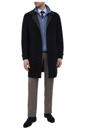 Мужские замшевые дерби DOUCAL'S темно-синего цвета, арт. DU2808PANAUF068NB03 | Фото 2 (Материал внутренний: Натуральная кожа; Стили: Классический; Материал внешний: Замша)