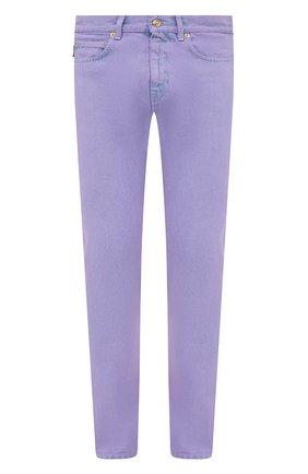 Мужские джинсы VERSACE фиолетового цвета, арт. A86452/1F00558 | Фото 1 (Силуэт М (брюки): Прямые; Кросс-КТ: Деним; Длина (брюки, джинсы): Стандартные; Материал внешний: Хлопок; Стили: Кэжуэл)