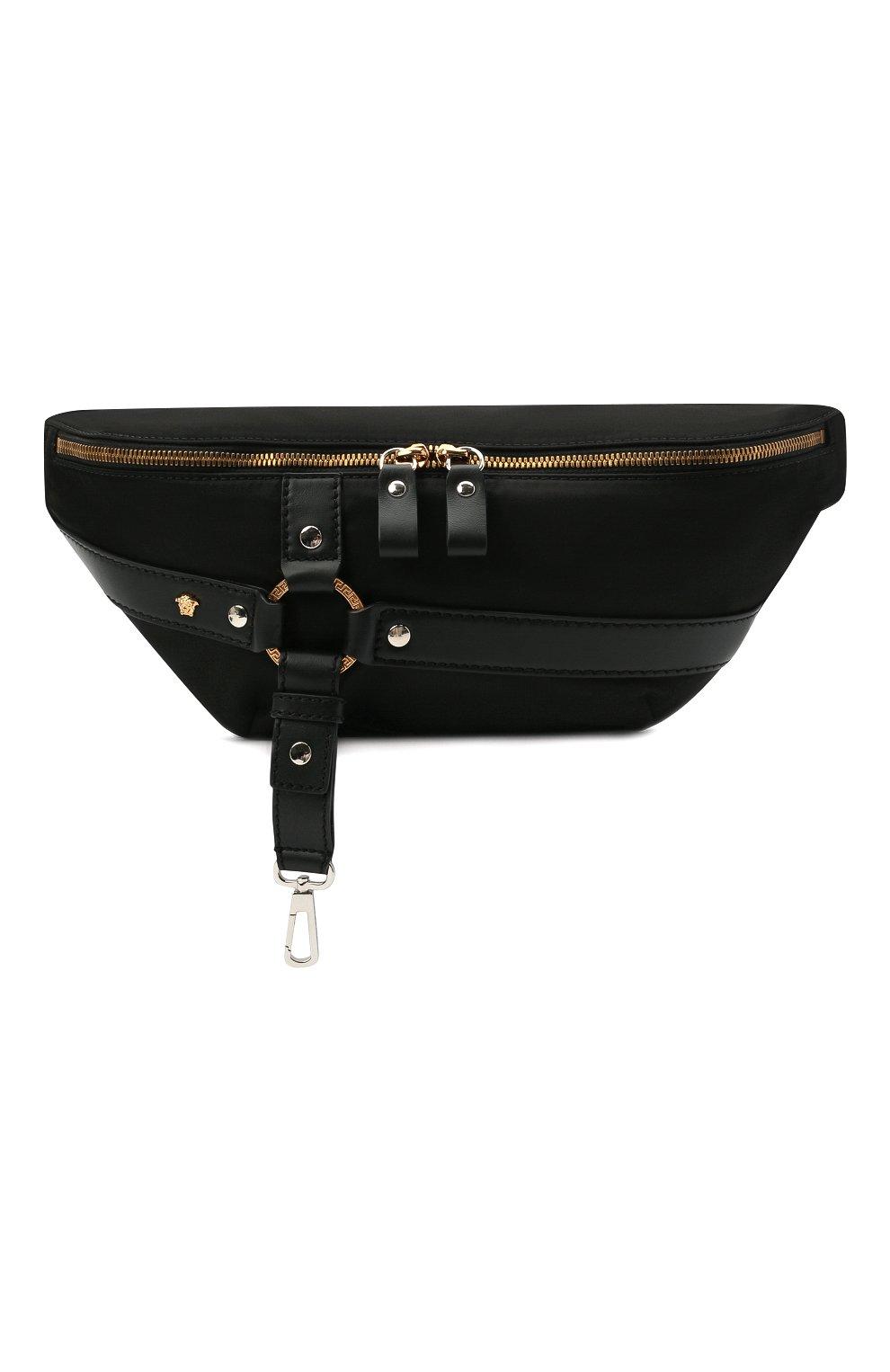 Мужская текстильная поясная сумка bondage VERSACE черного цвета, арт. DFB8429/DNY24   Фото 1 (Ремень/цепочка: На ремешке; Материал: Текстиль)