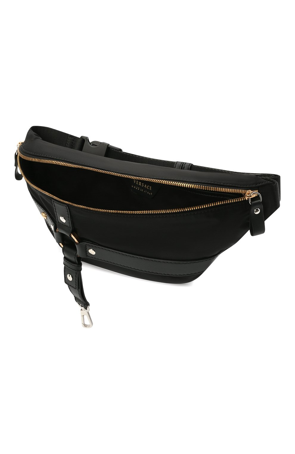 Мужская текстильная поясная сумка bondage VERSACE черного цвета, арт. DFB8429/DNY24   Фото 4 (Ремень/цепочка: На ремешке; Материал: Текстиль)