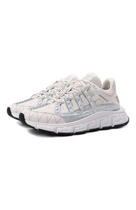 Мужские комбинированные кроссовки trigreca VERSACE белого цвета, арт. DSU8094/D18TCG | Фото 1 (Материал внешний: Текстиль; Материал внутренний: Текстиль; Стили: Гранж; Подошва: Массивная)