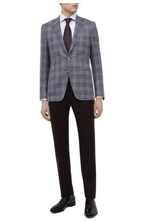 Мужские кожаные оксфорды SANTONI темно-синего цвета, арт. MCBN17158BB3XVVDU59 | Фото 2 (Материал внутренний: Натуральная кожа; Стили: Классический)