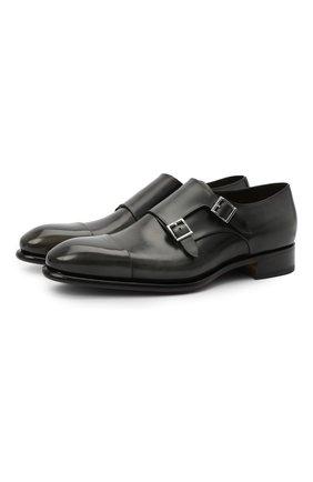 Мужские кожаные монки SANTONI темно-серого цвета, арт. MCCR11652MC1HNGWG60 | Фото 1 (Стили: Классический; Материал внутренний: Натуральная кожа)