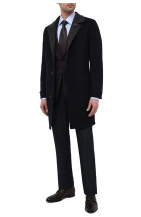 Мужские кожаные дерби SANTONI темно-коричневого цвета, арт. MCLE17575LA1SMEDT50 | Фото 2 (Материал внутренний: Натуральная кожа; Стили: Классический)