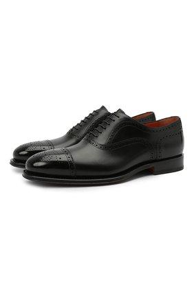 Мужские кожаные оксфорды SANTONI черного цвета, арт. MCPH17555RB2IVVDN01 | Фото 1