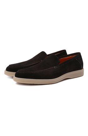 Мужские замшевые лоферы SANTONI темно-коричневого цвета, арт. MGDT17459TAAEPMST55 | Фото 1 (Мужское Кросс-КТ: Лоферы-обувь; Стили: Кэжуэл; Материал внутренний: Натуральная кожа; Материал внешний: Замша)