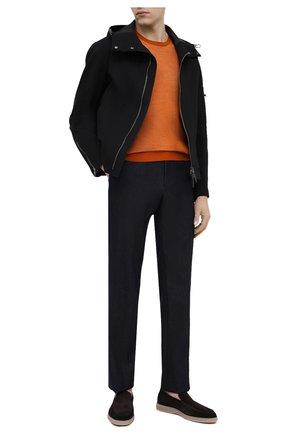 Мужские замшевые лоферы SANTONI темно-коричневого цвета, арт. MGDT17459TAAEPMST55 | Фото 2 (Мужское Кросс-КТ: Лоферы-обувь; Стили: Кэжуэл; Материал внутренний: Натуральная кожа; Материал внешний: Замша)