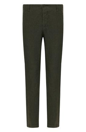 Мужские льняные брюки TRANSIT хаки цвета, арт. CFUTRND130 | Фото 1 (Случай: Повседневный; Длина (брюки, джинсы): Стандартные; Материал внешний: Лен; Стили: Кэжуэл)