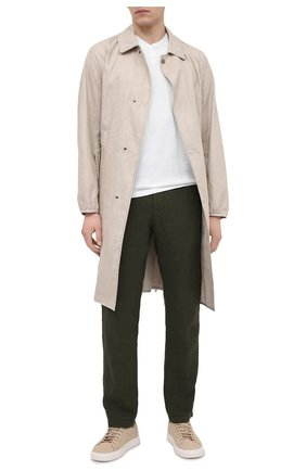 Мужские льняные брюки TRANSIT хаки цвета, арт. CFUTRND130 | Фото 2 (Случай: Повседневный; Длина (брюки, джинсы): Стандартные; Материал внешний: Лен; Стили: Кэжуэл)