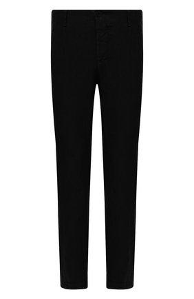 Мужские льняные брюки TRANSIT черного цвета, арт. CFUTRND130 | Фото 1 (Стили: Кэжуэл; Материал внешний: Лен; Длина (брюки, джинсы): Стандартные; Случай: Повседневный)