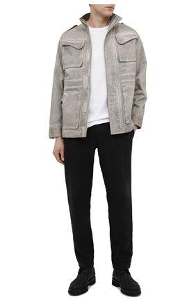 Мужские льняные брюки TRANSIT черного цвета, арт. CFUTRND130 | Фото 2 (Стили: Кэжуэл; Материал внешний: Лен; Длина (брюки, джинсы): Стандартные; Случай: Повседневный)