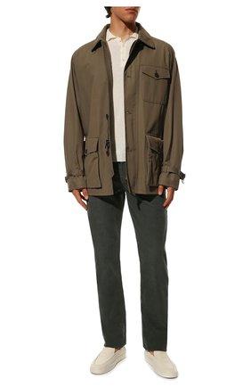 Мужские хлопковые брюки TOM FORD хаки цвета, арт. BWJ39/TFD002 | Фото 2